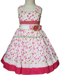 This beautiful bright pink girls summer dress features bands of white in the waist line and in the hem that contrast the floral design of the fabric, there is a smocking design at the waist and it's a Cute Little Girl Dresses, Cute Outfits For Kids, Girls Dresses, Summer Dresses, Bright Pink Dresses, Birthday Girl Dress, Sewing Patterns Girls, Frock Design, Vacation Dresses