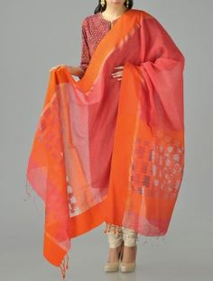 Orange-Pink Jamdani Cotton Silk Dupatta