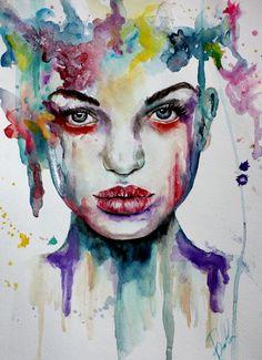 "Saatchi Art Artist: Bella Harris; Acrylic 2013 Painting ""Portrait Watergirl Study"""