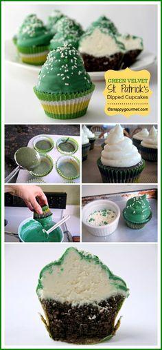 Green Velvet St. Patrick's Dipped Cupcakes | snappygourmet.com