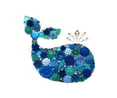 WHALE Blue 8X10 Button Art Button Artwork buttons by CherCreations