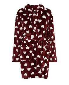 Rich Red (Red) Red Heart Print Dressing Gown  | 317343168 | New Look