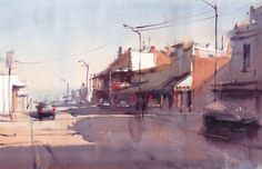 Michael Bennett Painting & Drawing, Watercolor Paintings, Watercolors, 7 Arts, Michael Bennett, Drawing Sketches, Drawings, Watercolor Projects, Street View