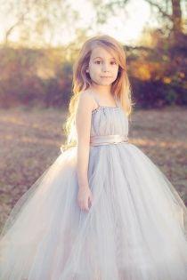 Romantic Double Strap A-line Long Grey Tulle Flower Girl Dress