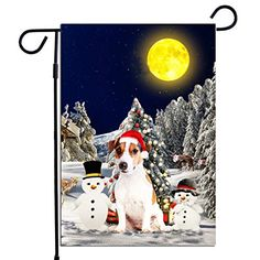 PrintYmotion Jack Russell Dog with Snowman Christmas Holidays Garden Flag, Dog Lovers Gift (12 x 18 Inches) PrintYmotion #Jack Russell #Dog Lovers gift #Christmas Gift #Christmas Flag