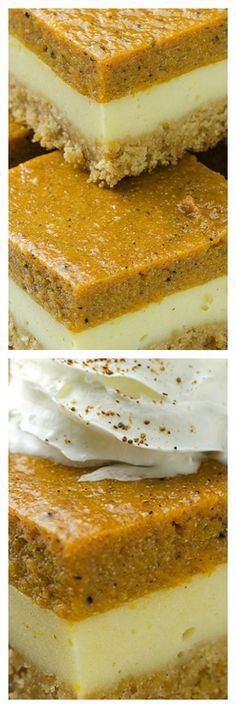 Pumpkin Cheesecake Bars - - Pumpkin Cheesecake Bars - Will make for a super tasty sweet treat during the fall and holiday season. This perfect Pumpkin Cheesecake Bars is delicious and very good! Holiday Desserts, Just Desserts, Delicious Desserts, Dessert Recipes, Yummy Food, Apple Desserts, Holiday Foods, Dinner Recipes, Pumpkin Cheesecake Bars