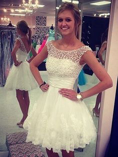 White Prom Dresses,Short Homecoming Dresses Lace,Modest Prom Dresses A-line,Cheap Homecoming Dresses Tulle,Sexy Prom Dresses Open Back