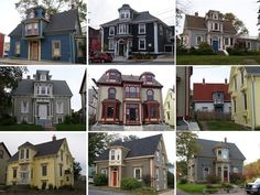 Victorian-era houses in Lunenburg, Nova Scotia, displaying the once fashionable 'Lunenburg Bump' style of extended dormer [1080x810]