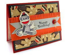 A fun and whimsical handmade birthday greeting card design featuring a loveable sock monkey. Description from itsbetterhandmade.com. I searched for this on bing.com/images
