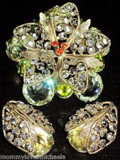 SCHREINER Yellow Silver & Red Rhinestone Pin Earring Set