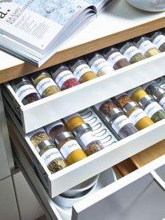 15 Creative Spice Storage Ideas Shallow kitchen drawers are perfect for spice storage – except when jars roll against one another. Solve that problem with the Variera drawer insert from IKEA. The curved grooves of this removable tray make it easy to store Drawer Spice Rack, Spice Storage, Spice Organization, Diy Kitchen Storage, Diy Storage, Spice Racks, Storage Ideas, Storage Solutions, Pegboard Storage