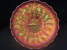 BRIGHT PUMPKIN NORTHWOOD ANTIQUE CARNIVAL GLASS MASTER ICS BOWL*PEACOCK & URN