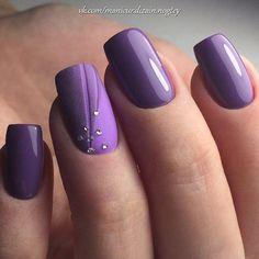 Purple nail art October 25 2019 at nails Colorful Nail Designs, Gel Nail Designs, Hot Nails, Hair And Nails, Purple Nail Art, Modern Nails, Manicure E Pedicure, Fabulous Nails, Easy Nail Art