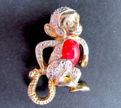 Adorable Vintage Gold Tone Figural Monkey Brooch Clear Rhinestone Eyes Red Enamel Playful Fun Whimsical by eKatJewels on Etsy