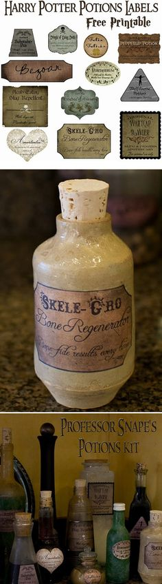 "Free printable Harry Potter potion labels.  I wonder if people would still steal my vanilla extract in the pan house if it were labeled ""draught of living death""? -- This would be really cool to have on food tables as decorations!"