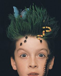 "Amazing and Creative Hand Made Halloween Costumes (pictured is ""Earth"" hair)  ((#12-Beehive hair, 19-Earth, 22-Wind, 34-Rose Garden, 39-Ocean Wave, 41-Ice.  AMAZING each one...some are not just for girls; some are for boys too!  S.))"