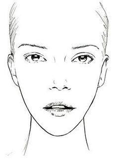 Cara ovalada/alargada Makeup Face Charts, Face Makeup, Mac Face Charts, Marilyn Monroe Painting, Face Stencils, Realistic Cartoons, Face Template, Business Hairstyles, Face Sketch