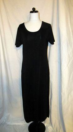 Sz PM Exclusively Misook Long Black Knit Dress Short Sleeves Scoop Neck #Misook #Sheath #WeartoWork