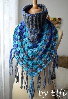 Elfi / Háčkovaný nákrčník/šatka ♦ V odtieňoch modrej Outfit, Crochet, Fashion, Outfits, Moda, Fashion Styles, Knit Crochet, Crocheting, Fashion Illustrations