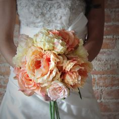 yellow wedding, wedding flowers, silk flowers, silk bouquets, silk wedding flowers, wedding bouquets, peony bouquet, silk peonies, yellow and peach wedding shop wedding flowers and wedding decorations www.afloral.com