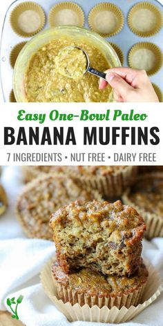 These Paleo Banana Muffins are made with coconut flour and are free from dairy, nuts, gluten and grains. They make a delicious, perfectly moist Paleo treat or breakfast on the go and can be whipped up in one bowl. || Prepare and Nourish