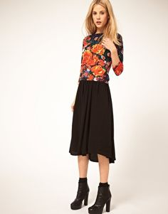 midi skirt with waterfall detail...machine washable from asos.  Free shipping.  Can it be???