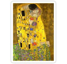 """The Kiss (Lovers) was painted by the Austrian Symbolist painter Gustav Klimt between 1907 and 1908, the highpoint of his """"Golden Period"""", when he painted a number of works in a similar gilded style. A perfect square, the canvas depicts a couple embracing, their bodies entwined in elaborate robes decorated in a style influenced by both linear constructs of the contemporary Art Nouveau style and the organic forms of the earlier Arts and Crafts movement. The work is composed ..."""
