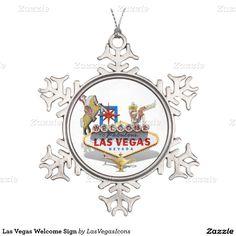 #LasVegas Welcome Sign Snowflake #ChristmasOrnament by #LasVegasIcons  #gravityx9 #Zazzle -