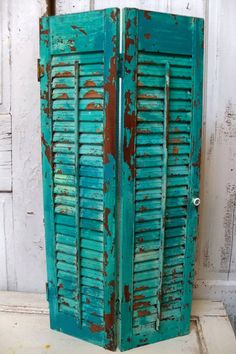 Wood shutter tall aqua blue recycled piece by AnitaSperoDesign, $85.00