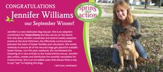 Congrats to our September #SpringIntoAction winner - Jennifer Williams of #Foster2Rescue. Support #pet #rescue!