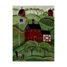Show off your sense of style with this Metaverse Art American Red Quilt House canvas wall art. Casas Country, Canvas Home, House Canvas, Primitive Folk Art, Primitive Painting, Print Artist, Art Print, Of Wallpaper, Canvas Artwork