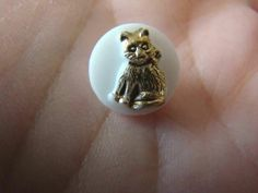 Adorable Vintage Czech Glass Diminutive Painted Kitty Cat Sewing Button | eBay