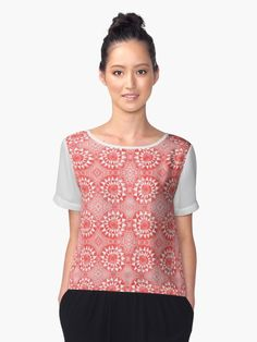 7d3b0d114d1d7f Cute Chiffon Top by Sofya Dushkina. Red Tribal Triangle Circle. Geometrical  watercolor pattern inspired