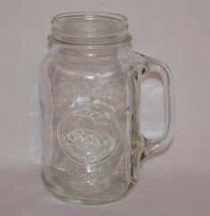 Vintage Tall Golden Harvest Drinking Jar 28oz. Farmhouse Kitchen Wedding Decor