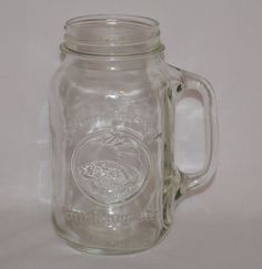 Vintage Tall Golden Harvest Drinking Jar 28oz. Farmhouse Kitchen Wedding Decor