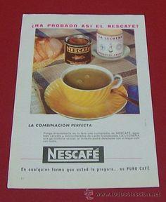1959 PUBLICIDAD NESCAFÉ CON RECETA DE CAFÉ CON LECHE ANUNCIO DE PRENSA VINTAGE Nescafe, Latte, Drinks, Tableware, Food, Latte Recipe, Advertising, The Originals, Printing Press