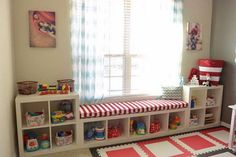 Ikea Kallax Hack: Playroom Storage. Personalize your space by combining different Kallax shelving units like this and adding a custom cushion on the top to make a complete look in your space.