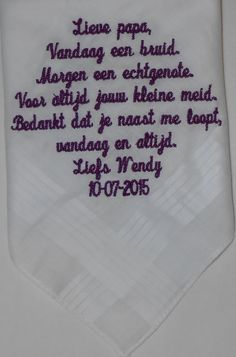 Heren zakdoek voor papa wedding http://www.bruiloftzakdoekje.nl