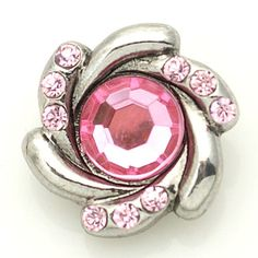 1 PC 18MM Pink Rhinestone Flower Silver Candy Snap by 95Boutique