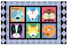 CounterArt Cat Personalities Pet Placemat by CounterArt. $6.95. Measures 17-1/8 by 11-1/4 inches. Look for a variety of designs. Whimsical design on one side. Pet placemat protects your floors from water or food messes. Easy care- wipe clean. This CounterArt pet mat is designed to be a placemat for your pet's food and water bowls, protecting your floors from spills and messes. This pet placemat comes with a whimsical design on one side, and it measures 17-1/8 inches b...