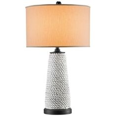 This contemporary coastal table lamp features terracotta and wood construction with an antique gray finish and an alabaster linen lamp shade.
