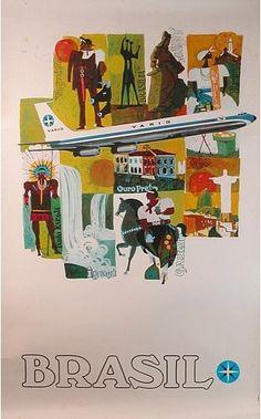 Varig - Brazil vintage travel poster