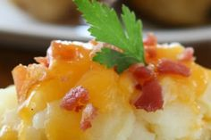 Slow Cooker Twice Baked Potato Casserole - Great side dish for so many meals!  www.GetCrocked.com