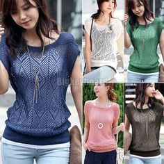 Womens Ladies Loose Hollow-out Short Batwing Sleeve Knit Jumper Tops Sweater Free Shipping $8.15