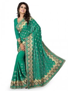 Glory Catloge -sea Green Colored Embroidered Georgette Sarees - Buy Sea Green Georgette Embroidered Saree For only Rs.2,749 from Godomart Online Shopping Store India. Shop Online for Best Saree Collection Only at Godomart.com