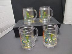 Glasses Water Bannanas Glitter Monkey Plastic Drink Mug Cups Double Sided Kids