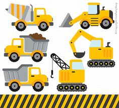CONSTRUCTION Clipart, Printable, Instant download, PNG files, truck clipart…