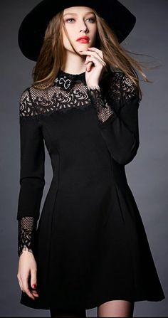 Fall/Winter Vintage Black Long Sleeve Lace Splicing A-Line Dress on Luulla Black Dress Outfits, Girl Outfits, Fashion Outfits, Fashion Fashion, Trendy Outfits, Dress Black, Fashion Women, Fashion Shoes, Winter Fashion