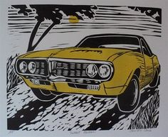 Sunset PontiacArtist's Proof of a yellow vintage by ChromaFineart, $10.00