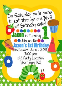 MultiColored Hungry Caterpillar Birthday by WhooosHavingAParty, Twin First Birthday, Baby Birthday, Book Birthday Parties, Birthday Ideas, Hungry Caterpillar Party, Party Themes, Party Ideas, Birthday Invitations, First Birthdays